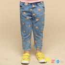 Azio 女童 長褲 滿版橘色愛心休閒牛仔長褲(藍)Azio Kids 美國派 童裝