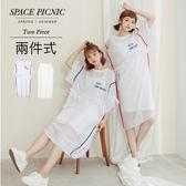 兩件式 Space Picnic 現+預.兩件式.字母雪紡紗洋裝+細肩長背心【C18061039】