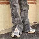 復古牛仔褲女春季高腰寬鬆顯瘦直筒拖地開叉微喇長褲子潮ins 快速出貨
