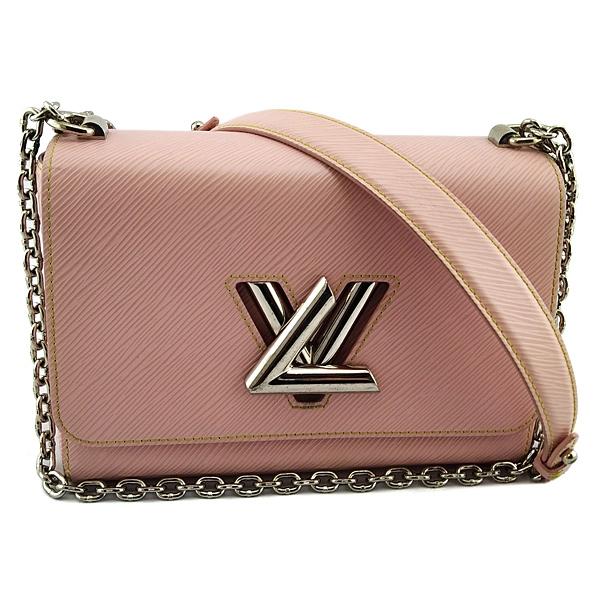 【奢華時尚】LV 淡粉色EPI水波紋牛皮銀鍊肩背斜背兩用Twist包(八八成新)#25083