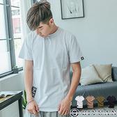 韓版側邊拉鍊造型短T【HJ8717】OBIYUAN 織帶吊飾短袖上衣 共4色