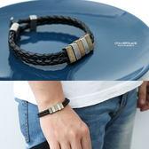 復古雙色小方塊雙線皮革手環【NA446】