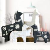 北歐抽象簡約黑色陶瓷馬小擺件馬到成功創意居家室內裝飾品兒童房