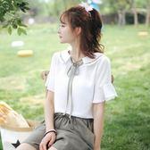 夏裝新款娃娃領雪紡襯衫女短袖超仙甜美系帶仙仙女小清新上衣 GB3354『樂愛居家館』