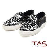 TAS  不規則條紋馬毛星星鉚釘懶人鞋-率性黑