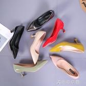 高跟鞋子尖頭細跟季5CM中跟貓跟百搭漆皮單鞋女 千千女鞋