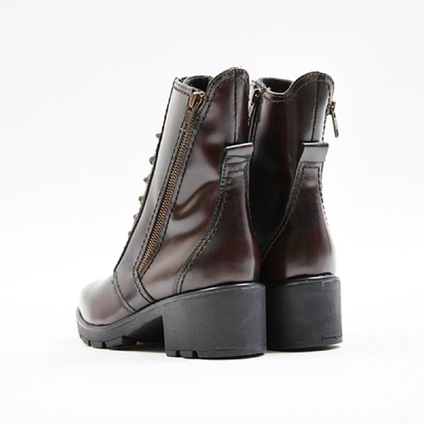 ★2017秋冬新品★kadia.真皮 時尚率性9孔綁帶中筒靴(7703-60咖)