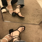 綁帶涼鞋女粗跟2020年新款夏季百搭中跟方頭高跟鞋交叉纏繞羅馬鞋 快速出貨