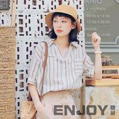 2018夏季新款復古ins襯衫女港風套頭寬鬆學生條紋chic短袖上衣  enjoy精品