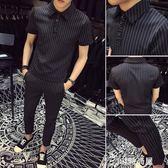 2019夏季潮流男士短袖T恤套裝精神社會小伙半袖上衣網紅襯衫一套    JSY時尚屋