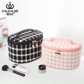 霧花冬季大容量化妝包韓版小號少女心化妝品收納包手提化妝箱