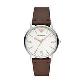 【Emporio Armani】美式經典羅馬時標極簡時尚腕錶-深棕咖/AR11173/台灣總代理公司貨享兩年保固
