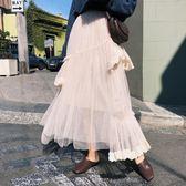 9010秋新獨特設計師款超重工不規則蕾絲拼接厚實大擺紗裙ZL-E5F-E518-A朵維思