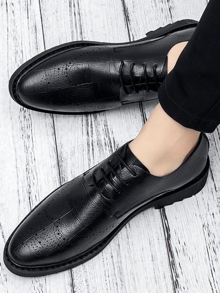 年終穿搭new Year 新款夏季男鞋子男士休閒皮鞋真皮透氣青年正韓商務英倫鏤空防臭鞋