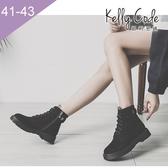 大尺碼女鞋-凱莉密碼-復古百搭麂皮質感側拉鍊綁帶馬汀短靴3.5cm(41-43)【APHH-2】黑色
