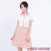 【RED HOUSE 蕾赫斯】POLO衫拼接蝴蝶結短袖洋裝(共2色)