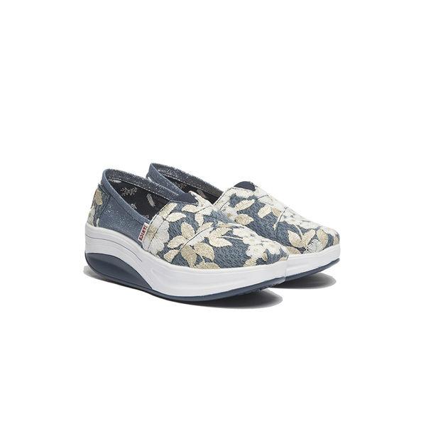 JANICE-電繡花牛仔布休閒鞋352031-07藍