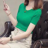 針織短袖 短袖女冰絲針織衫  chic打底薄緊身上衣短款t恤潮 艾莎嚴選