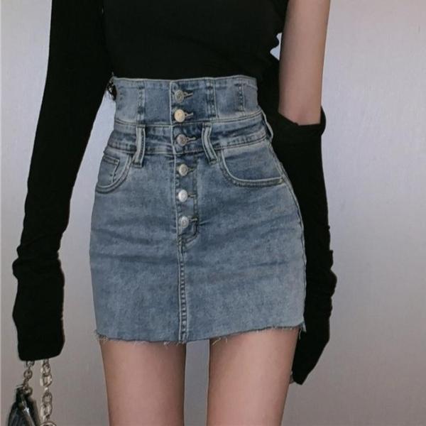 牛仔半身裙女設計感短裙2021新款春秋季高腰顯瘦包臀裙子潮ins