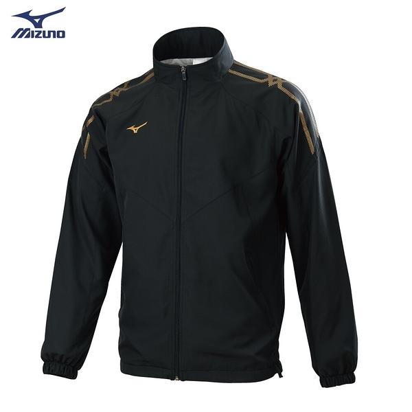 MIZUNO 男裝 外套 立領 套裝 休閒 防潑水 兩側口袋 網布內裡 黑金【運動世界】32TC058399