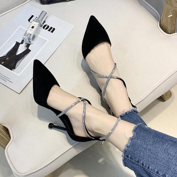 高跟鞋少女小清新高跟鞋細跟2020新款韓版百搭氣質綁帶尖頭淺口單鞋女夏 伊蒂斯