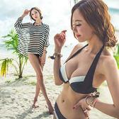 黑白配色性感鋼圈 比基尼泳裝+罩衫 3件式 橘魔法 magic G  現貨 三件式 顯瘦 泳裝
