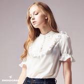 【SHOWCASE】氣質名媛百褶荷葉立領雪紡襯衫(白)