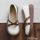 娃娃鞋 日繫文藝增高圓頭厚底大頭鞋手工舒適百搭娃娃鞋女 新品