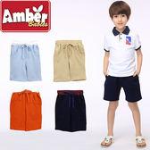 短褲 五分褲 褲子 Amber 純棉 男童 假綁帶 淺藍 卡其 深橘 深藍