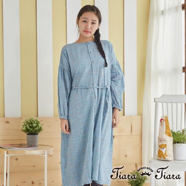 【Tiara Tiara】百貨同步 水彩點點綁帶落肩長洋裝(深藍/淺藍/米) 預購