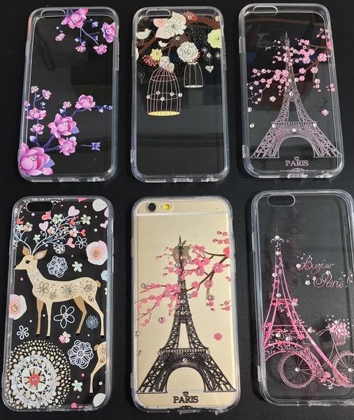 【世明國際】iPhone 6/6+/6s/6s+ 水鑽彩繪軟殼 埃菲爾鐵塔 金色小鹿 櫻花 i6 plus 保護套 手機殼