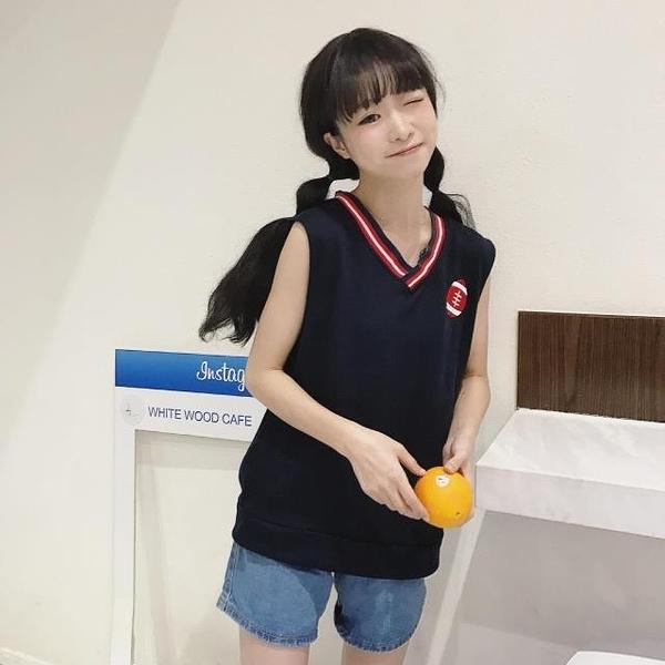 [超豐國際]春夏女裝軟妹刺繡V領馬甲寬松百搭無袖背心外套學生1入