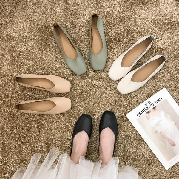 娃娃鞋 單鞋女2021春款平底百搭淺口瑪麗珍復古奶奶鞋一腳蹬鞋子豆豆鞋女