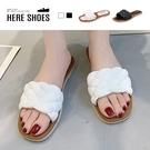 [Here Shoes] 2cm涼鞋 優雅氣質立體編織 皮革方頭平底涼拖鞋-AN2132
