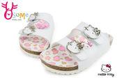 Hello kitty拖鞋 台灣製 造型扣環仿豹內底 童拖鞋F5208#白◆OSOME奧森鞋業