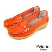 【Pelutini】donna厚底簡約豆豆鞋 橘色(W095-OR)