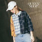 Queen Shop【01023165】拼接格紋單口袋長袖襯衫*現+預*