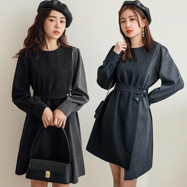 現貨-MIUSTAR 設計感!左右不對稱剪裁附綁帶洋裝(共2色)【NH3529】預購