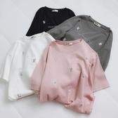 [百姓館] 加厚磨毛棉刺繡字母短袖T恤女韓版簡約寬鬆百搭打底衫半袖上衣