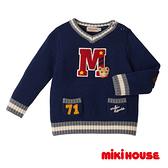 MIKI HOUSE 普奇熊學院風V領針織毛衣(藏藍)