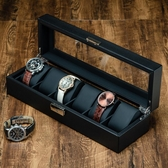 碳纖維皮質6格手錶盒子 手鍊首飾機械錶收納整理盒