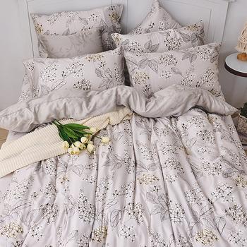 床包兩用被組 / 雙人加大【墨花棉繡】含兩件枕套 60支天絲 戀家小舖台灣製AAU315