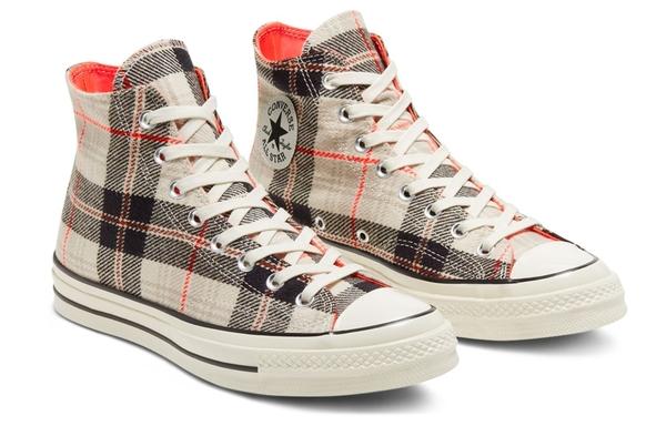 CONVERSE-Chuck 70 男女款白色英倫復古格子高筒休閒鞋-NO.166496C
