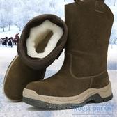 雪地靴男 雪地靴男皮毛一體真皮羊毛冬季戶外保暖加厚防水中筒馬靴 HD