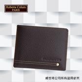 【Roberta Colum】諾貝達 男用皮夾 短夾 專櫃皮夾 進口軟牛皮鉚釘短夾 (咖啡色-23151)【威奇包仔通】