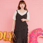 Poly Lulu 復古點點荷葉剪裁兩件式洋裝-黑【92310181】