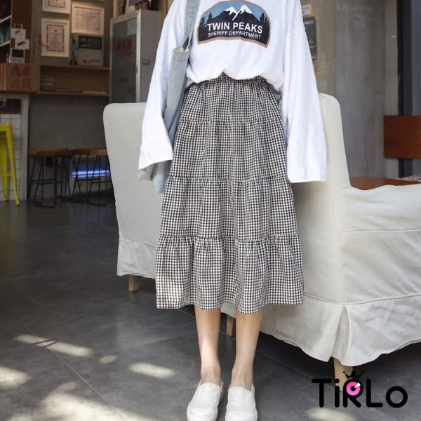 長裙-Tirlo-森林系甜美格子棉麻長裙-單一(現貨)