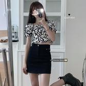 泡泡短袖 2020新款夏季泡泡袖設計感小眾襯衫輕熟短款雪紡上衣露臍短袖潮女 曼慕