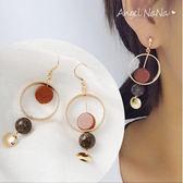 耳環《可改夾式》《可改S925銀針》復古金沙圈圈耳鈎 (SRA0055) AngelNaNa