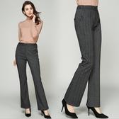 中大尺碼長褲 毛呢小喇叭褲細條紋鬆緊腰時尚顯瘦 M-5XL #mm79392 ❤卡樂❤